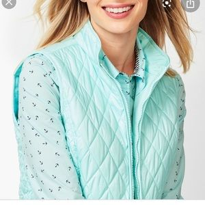 Talbots Fleece lined quilted turquoise vest